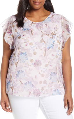 Vince Camuto Poetic Blooms Flutter Sleeve Top