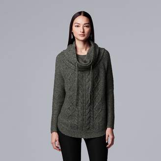 Vera Wang Women's Simply Vera Cable-Knit Cowlneck Sweater