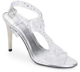 Stuart Weitzman Looking Good Rhinestone-Embellished Clear Sandals