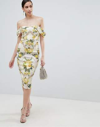 Bardot ASOS DESIGN floral cold shoulder bodycon dress