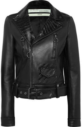 Off-White Printed Leather Biker Jacket - Black
