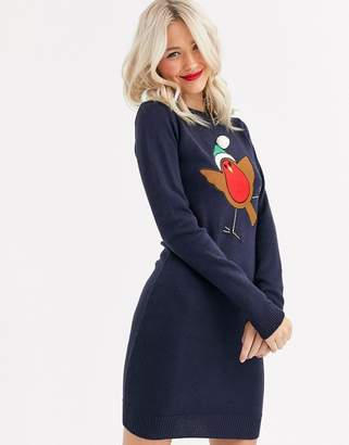 Brave Soul robin christmas sweater dress with pom pom