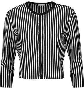 Tomas Maier Cropped Striped Knitted Cardigan
