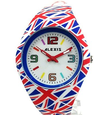 Alexis 10FW976E 新しいホワイトダイヤルレッド時計ケースシリコンレッドバンドレディース女性ファッションウォッチ