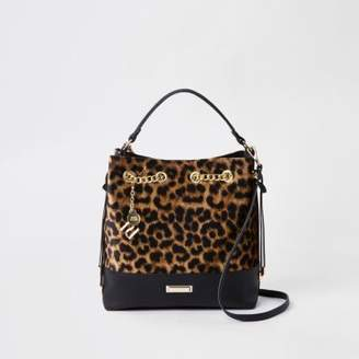 River Island Dark brown leopard print bucket bag