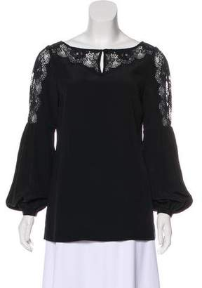 Tory Burch Lace-Trimmed Silk Blouse