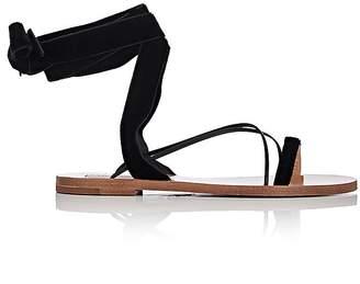 Valentino Women's Velvet & Leather Ankle-Wrap Sandals