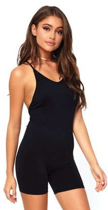 Leg Avenue Women's Spandex Opaque Romper with Cross Over Back Strap, Black, Med/LGE