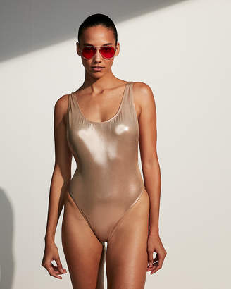 Express Metallic High Leg One-Piece Swimsuit