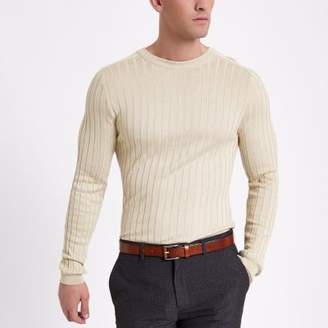 River Island Mens Stone rib muscle fit crew neck sweater