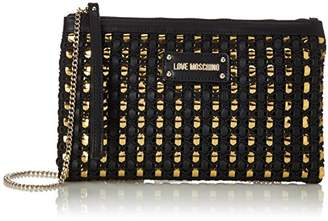 Love Moschino Borsa Calf Pu Nero/gold, Women's Shoulder Bag,2x17x28 cm (B x H T)