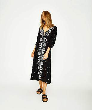 Free People Embroidered V Maxi Dress Black