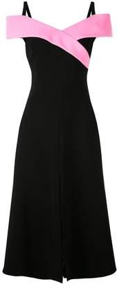 Christian Siriano structured collar midi dress