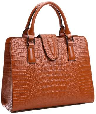 Yan Show Women's Shoulder Bags Crocodile Pattern Totes Leather Handbags