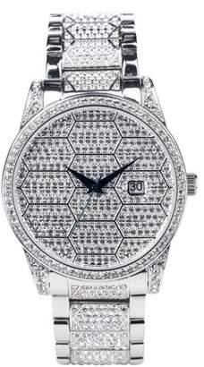 Croton Men's Silvertone Honeycomb Designed Austrian Crystal Bracelet Watch