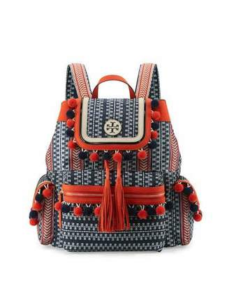 Tory Burch Scout Pompom Woven Backpack, Tory Navy $395 thestylecure.com