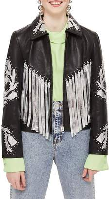 Topshop Austin Metallic Fringe Leather Jacket