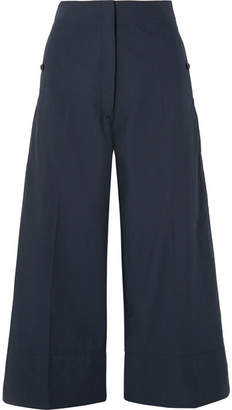 Lemaire Cropped Cotton-poplin Wide-leg Pants - Navy
