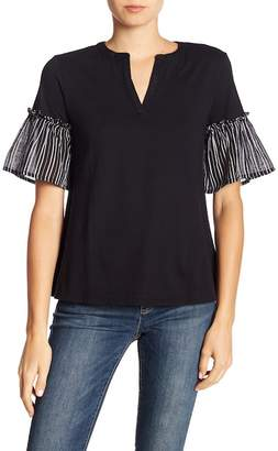 Joe Fresh Split Neck Ruffle Sleeve Blouse