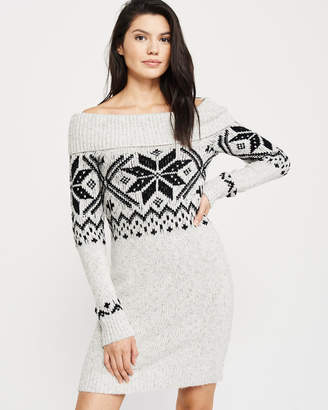 Abercrombie & Fitch Off-The-Shoulder Fair Isle Sweater Dress