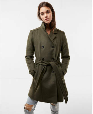 Express premium wool blend belted trench coat