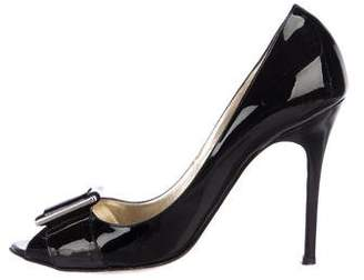 Luciano Padovan Patent Leather Peep-Toe Pumps