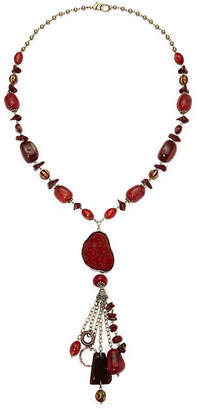 JCPenney Aris by Treska Red Stone Long Tassel Necklace