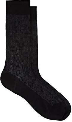 Barneys New York Men's Diamond-Print Cotton-Blend Mid-Calf Socks