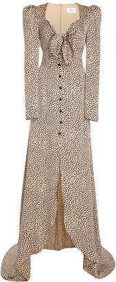 Rebecca de Ravenel Exclusive Tie-Front Polka-Dot Silk-Charmeuse Gown