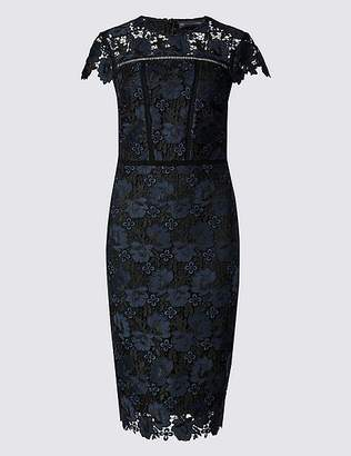 Marks and Spencer PETITE Lace Cap Sleeve Bodycon Midi Dress
