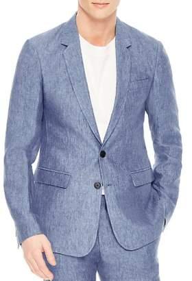 Sandro Notch Chambray Slim Fit Linen Sport Coat