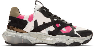 Valentino Black and Pink Garavani Camouflage Bounce Sneakers