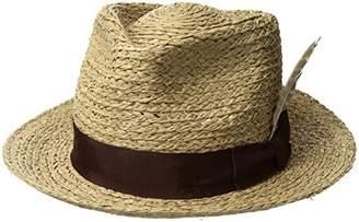 2e9d0502e73 Brixton Men s Crosby Medium Brim Straw Fedora Hat Newsie Cap S