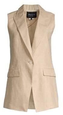 Lafayette 148 New York Women's Sleeveless Linen Vest - Sahara Melange - Size Small