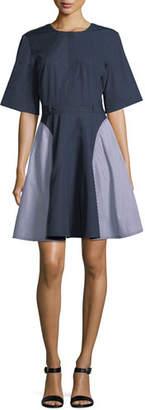 Jason Wu GREY Short-Sleeve Striped Cotton Dress