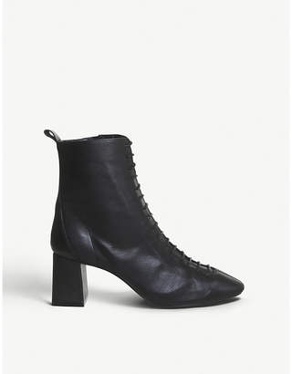 Office Aloha lace up block heel leather boots