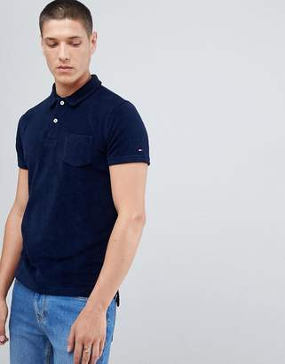 Tommy Hilfiger Slim Fit Towelling Polo Icon Stripe Detail in Navy