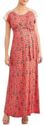 Liz Lange Maternity Maternity Maxi Dress W/Crochet Shoulder Detail