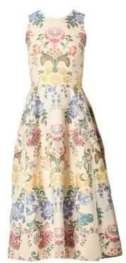 Carolina Herrera Floral Sleeveless Midi Dress