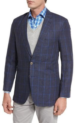 Peter Millar Marina Windowpane-Check Sport Coat, Navy $495 thestylecure.com
