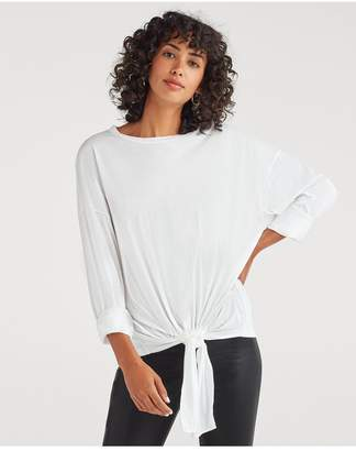 7 For All Mankind Feather Weight Jersey Long Sleeve Tunnel Front Tee In Optic White