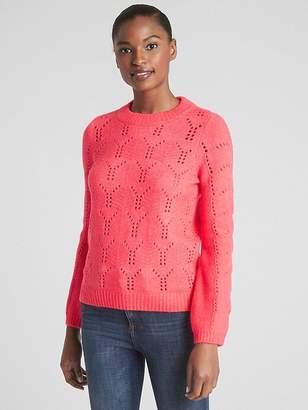 Pointelle Crewneck Pullover Sweater