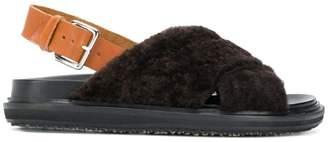 Marni fur flat sandal