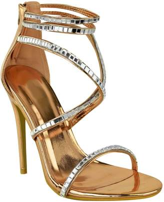 Barely There Fashion Thirsty Womens Strappy Jewel Gem Stiletto High Heel Sandal Size 8