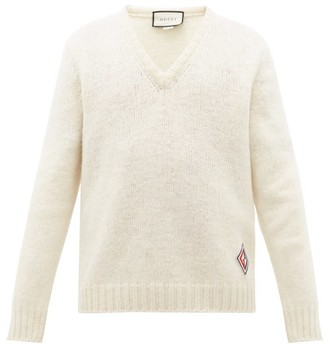 Gucci V Neck Gg Logo Patch Wool Sweater - Mens - White