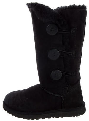 UGG Australia Suede Shearling-Trimmed Mid-Calf Boots $125 thestylecure.com