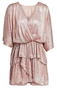IRO Women's Metallic Tiered Ruffle V-Neck Dress