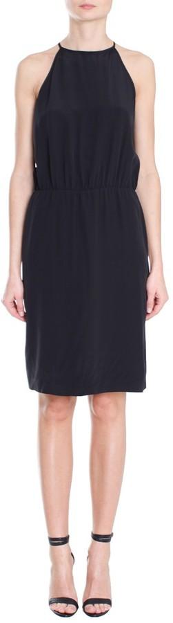 Tibi Solid Silk Short Halter Dress