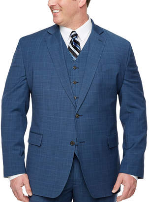 STAFFORD Stafford Super Suit Plaid Classic Fit Stretch Suit Jacket-Big and Tall