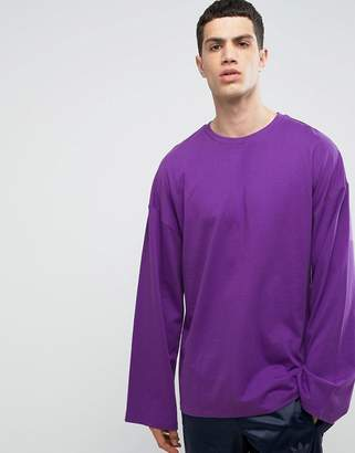 Asos Design Oversized Long Sleeve T-Shirt In Heavy Jersey With Wide Sleeve In Purple